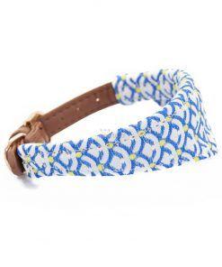 collar para perros pequeños piel sintetica azul pañuelo