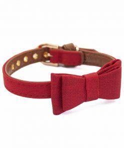 collar para perros pequeños piel sintetica rojo