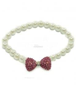 Collar Perlas Blancas Pajarita Roja Piedras