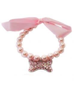 collar para perros rosa de perlas con hueso