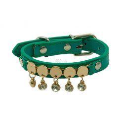 Collar Perro Lujo Brillantes Circulos Dorados Azul Turquesa (1)