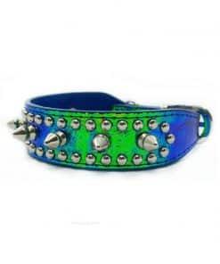 Collar Perro Lujo Cocodrilo Pinchos Azul Metalico (1)