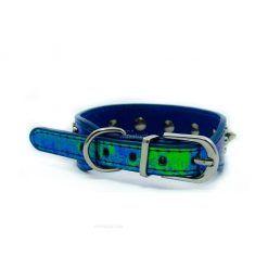 Collar Perro Lujo Cocodrilo Pinchos Azul Metalico (2)