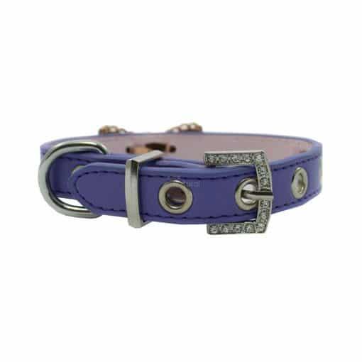 Collar Perro Lujo Lazo Perlas Piedra Azul Morado (1)