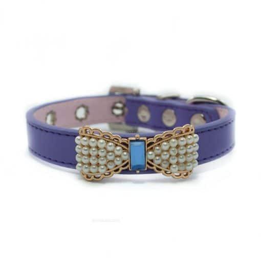 Collar Perro Lujo Lazo Perlas Piedra Azul Morado (2)