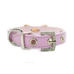 Collar Perro Lujo Lazo Perlas Piedra Azul Rosa (1)