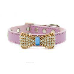 Collar Perro Lujo Lazo Perlas Piedra Azul Rosa (2)