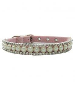 Collar Perro Lujo Perlas Brillantes Rosa Claro (2)