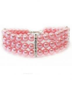 Collar Perro Perlas Rosas Lujo