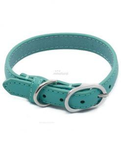 Collar Piel Sintetica Azul Turquesa Hevilla Plateada