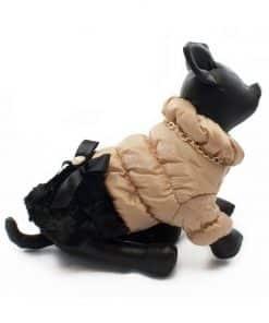 Elegante Abrigo Plumon Perra Dorado Falda Negra Lazo Ropa Perros Invierno (1)