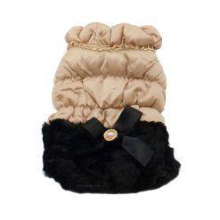 Elegante Abrigo Plumon Perra Dorado Falda Negra Lazo Ropa Perros Invierno (2)