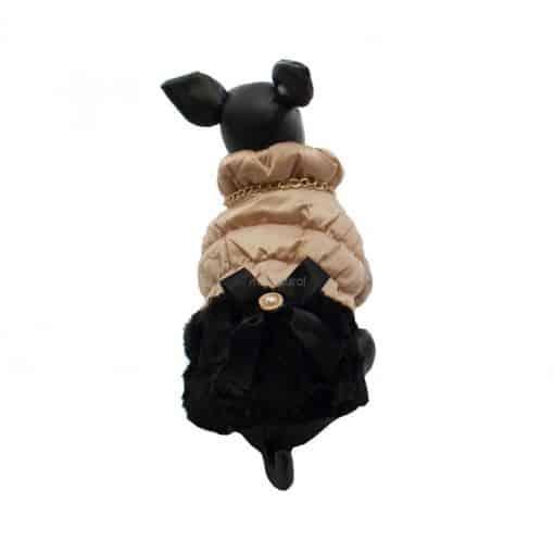 Elegante Abrigo Plumon Perra Dorado Falda Negra Lazo Ropa Perros Invierno (3)