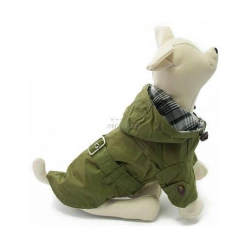 Gabardina Perro Verde Capucha Cinturon Botones Marron Ropa Perros Invierno (1)