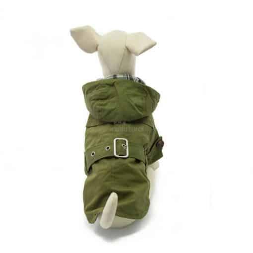 Gabardina Perro Verde Capucha Cinturon Botones Marron Ropa Perros Invierno (3)