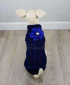 ALT jersey azul marino para perros pequeños con flor azul en la espalda