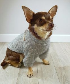 Jersey gris con perlas para perros pequeños