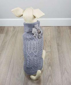 ALT jersey gris para perros pequeños con lazo gris en la espalda
