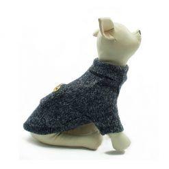 Jersey Punto Azul Cuello Alto Ropa Perros Invierno (3)