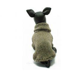 Jersey Punto Marron Cuello Alto Ropa Perros Invierno (1)