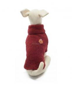 Jersey Punto Rojo Burdeos Cuello Alto Ropa Perros Calentito Invierno (1)