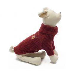 Jersey Punto Rojo Burdeos Cuello Alto Ropa Perros Calentito Invierno (2)