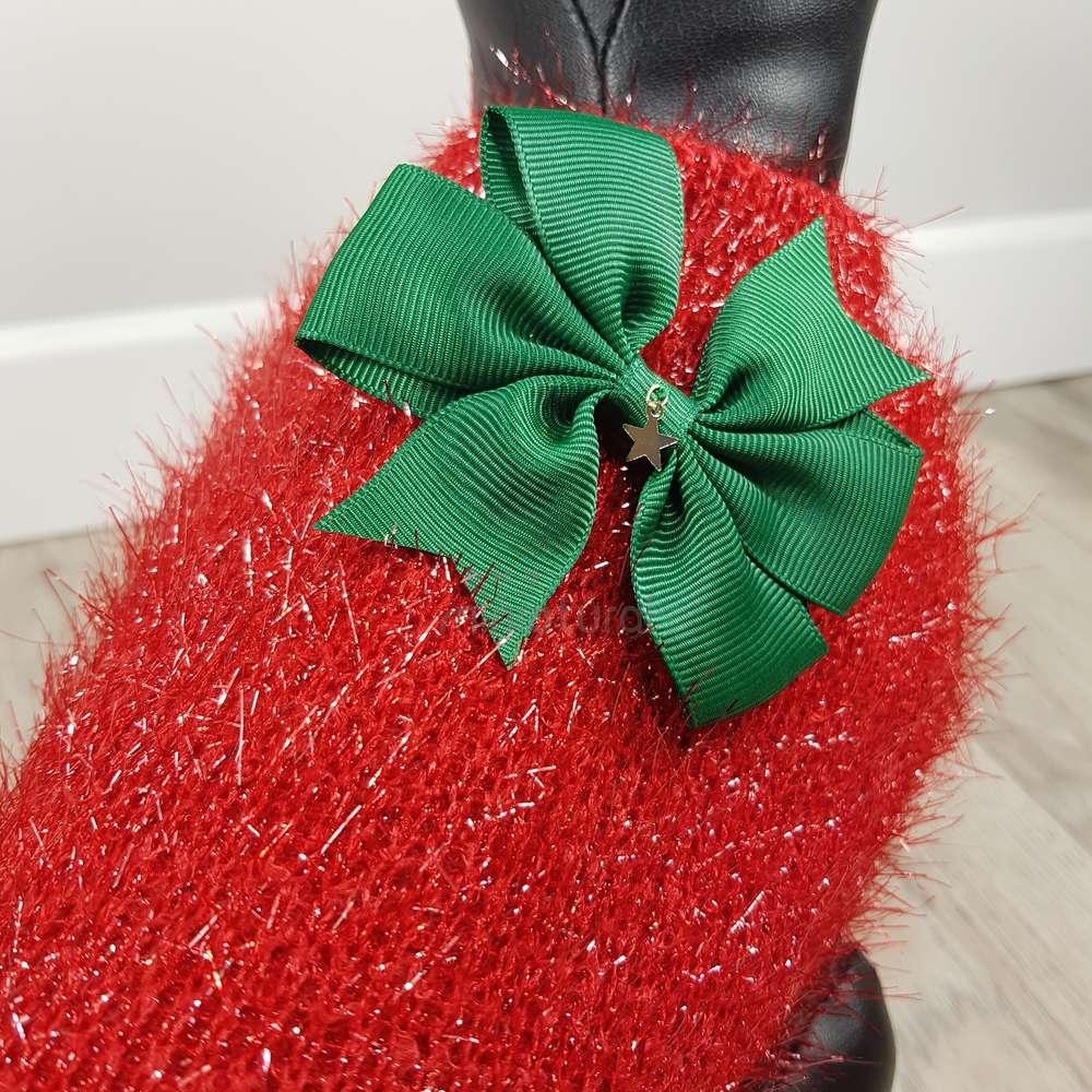 ALT jersey rojo para perros pequeños con lazo verde en la espalda