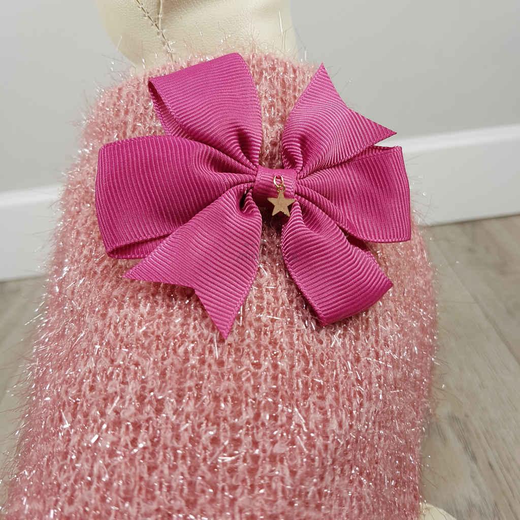 ALT sueter rosa para perros pequeños jersey de punto para perritas detalle del lazo en la espalda