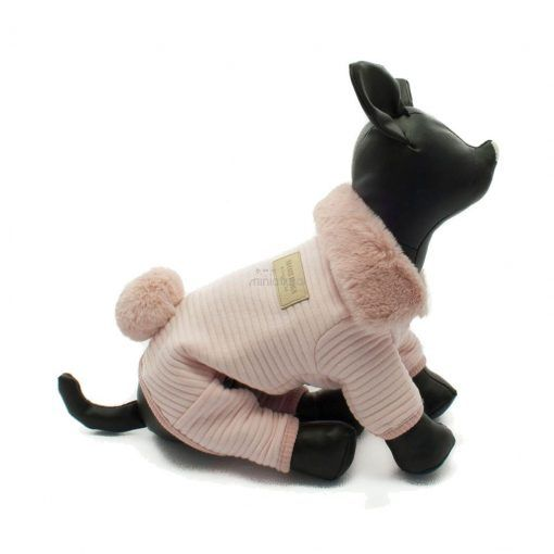 Mono Rosa Cuello Pelo Cola Conejo Ropa Perros Invierno (3)
