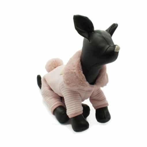 Mono Rosa Cuello Pelo Cola Conejo Ropa Perros Invierno (4)