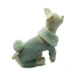 Mono Verde Cuello Pelo Cola Conejo Ropa Perros Invierno (2)