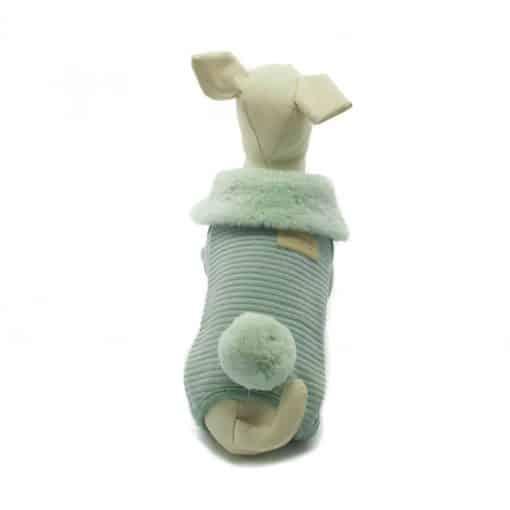 Mono Verde Cuello Pelo Cola Conejo Ropa Perros Invierno (3)