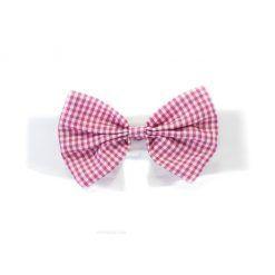 Pajarita Perro Cuadros Rosa Blanco Ceremonia Cuello Camisa