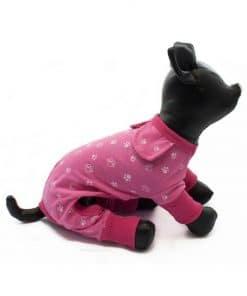 Pijama Perra Rosa Calentito Dibujo Huellas Perros Blancas Ropa Perros Invierno (1)