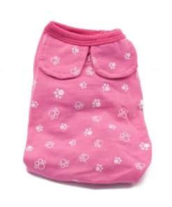 Pijama Perra Rosa Calentito Dibujo Huellas Perros Blancas Ropa Perros Invierno (2)