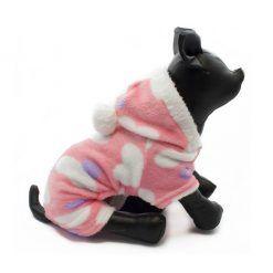 Pijama Perra Rosa Polar Capucha Pompon Corazones Ropa Perros Invierno (1)