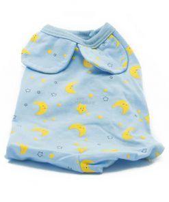 Pijama Perro Azul Estampado Lunas Estrellas Amarillas Ropa Perros (2)