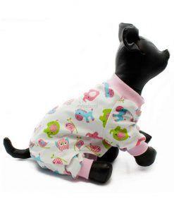 Pijama Perro Blanco Rosa Animalitos Calentito Ropa Perros Invierno (2)