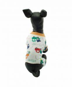 Pijama Perro Estampado Coches Cuello Amarillo Ropa Perros (3)
