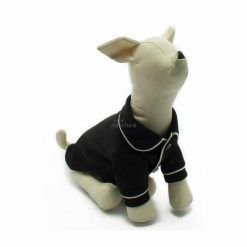 Pijama Perro Negro Botones Elegante Filo Blanco Ropa Perros (3)