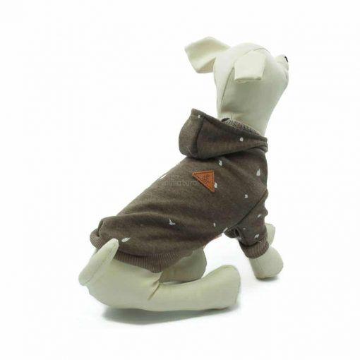 Sudadera Capucha Marron Estampado Blanco Ropa Perros Primavera (1)