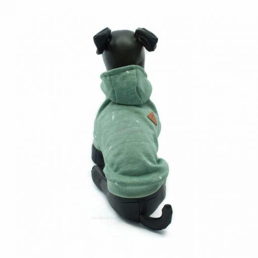 Sudadera Capucha Verde Turquesa Estampado Blanco Ropa Perros Primavera (3)
