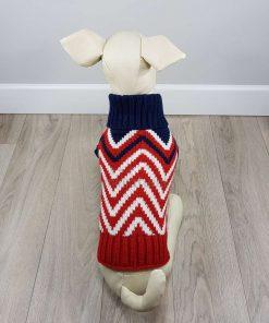 ALT sueter para perros pequeños rayas zig zag rojo blanco azul