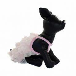 Vestido para perros pequeños rosa con volantes