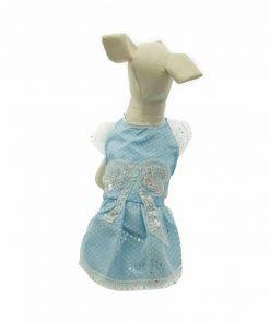 Vestido Azul Lunares Blancos Lazo Brillantes Mangas Encaje Ropa Perros Verano (2)