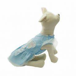 Vestido Azul Lunares Blancos Lazo Brillantes Mangas Encaje Ropa Perros Verano (3)