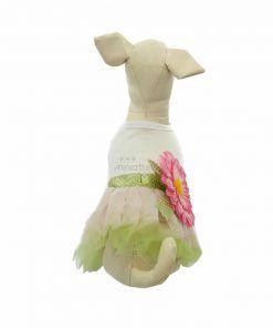 Vestido Camiseta Blanca Falda Verde Flor Grande Rosa Ropa Perros Verano (2)