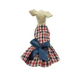 Vestido Cuadros Blancos Rojos Azul Lazo Azul Ropa Perros Verano Elegante (3)