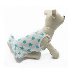 Vestido Perro Blanco Estrellas Azules Tirantes Fino Encaje Falda Ropa Perros Verano (2)