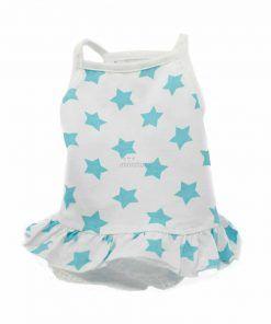Vestido Perro Blanco Estrellas Azules Tirantes Fino Encaje Falda Ropa Perros Verano (3)